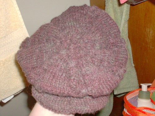 Handspun handknit hand dyed cabled mauve pink hat