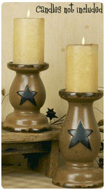 Wide Star Pillar Candle Holders