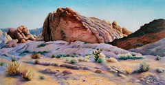 Desert Quilt in Prismacolor Pencil (gossamerpromise) Tags: original art pencil landscape utah drawing prismacolor coloredpencil deser sherryeggercom
