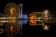 Disney's California Adventure (peasap) Tags: park ca bridge blue black water goofy wheel night canon reflections dark eos fair ferris disney mickey donald adventure mickeymouse ferriswheel rocket minnie february rockets orangecounty foreign bigwheel 2008 30d disneyscaliforniaadventure orane fpc anawesomeshot goldstaraward