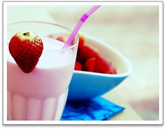 Strawberry Milkshake  (GirLy  GirL) Tags: pink blue red macro love glass fruit milk gg strawberry berries sweet straw milkshake strawberrymilkshake happybirthdaysmd