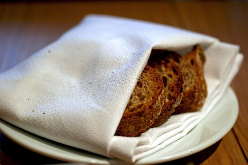 Warm toasts tucked in a napkin