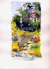 Stone Path (Artist Naturalist-Mike Sherman) Tags: watercolor michigan paintings mtpleasant islandpark pleinaire enpleinair midmichigan
