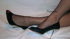 Black peep toe 1 (Kwnstantina) Tags: woman black female toes pumps highheels boots fishnet nails heels sole toering paintednails rednails longnails greekfoot sexyfeet peeptoes greekfeet  blackpeeptoes paintedsoles         glitteredheel