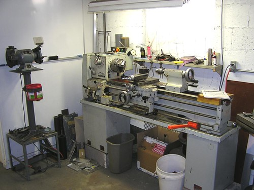 my shop, lathe area