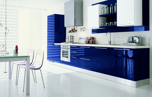 Modern Kitchen Blue Color Interior