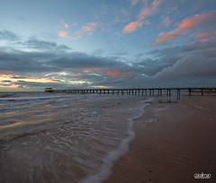 Henley Jetty - Vertorama (Dale Allman) Tags: ocean seascape storm motion beach nature clouds canon lights sand surf waves jetty australia explore adelaide southaustralia lightpole 1740 henleybeach henleybeachjetty henleyjetty vertorama canon5dmkii 5dmkii