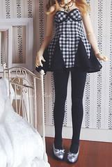 Elegante - tights (aki ) Tags: black set dress ooak tights gingham acr volks sd10 elegante bustier suiseiseki maname
