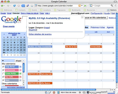 MySQL course in Google Calendar