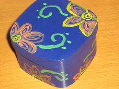 Ref.234 Caixa azul com flor