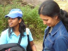 Deepthi and Aditi (aanjhan) Tags: trekking bangalore rappelling rbin ramnagar chimneyclimbing
