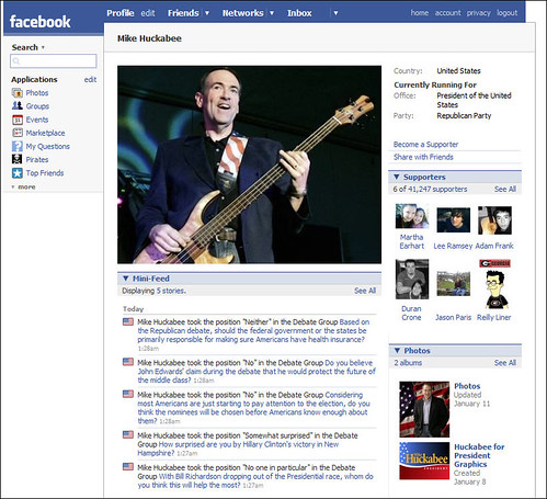 Mike Huckabee for President Facebook Profile
