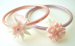 Pink and Purple Vintage Flowers Bracelets