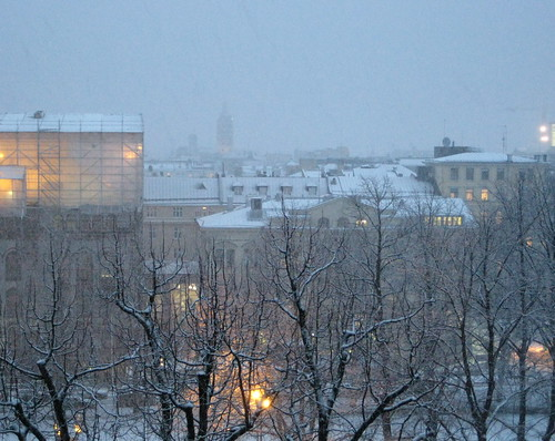 It is snowing in Helsinki