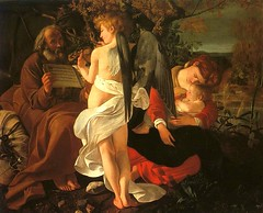 caravaggio, rest, flight, egypt, 1597, angel, wings, black, music, notes, baby, mother,  joseph, old, old men, rest