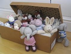 toybox3 (littlecottonrabbits) Tags: elephant rabbit animal toy monkey pig knitting handmade softies knitted stuffies