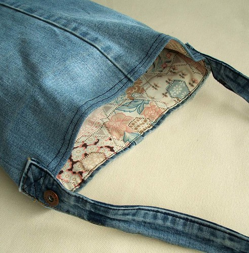 Recycled distressed denim tote bag