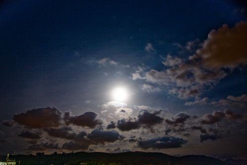 Cloudy Night Sky Stars Moonrise