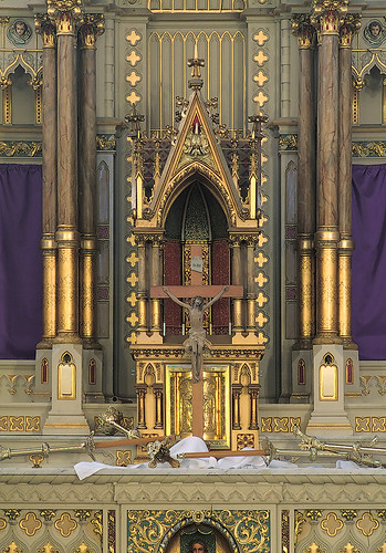 "Saint Francis de Sales Oratory, in Saint Louis, Missouri, USA - high altar after ""terrae motus"" on Good Friday"