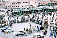 Maroc. Marrakech. Place Jamaa El Fna. 1968 (gilmarcil) Tags: show people morocco maroc marrakech picturesque gilles spectacle jamaaelfna marcil gillesmarcil