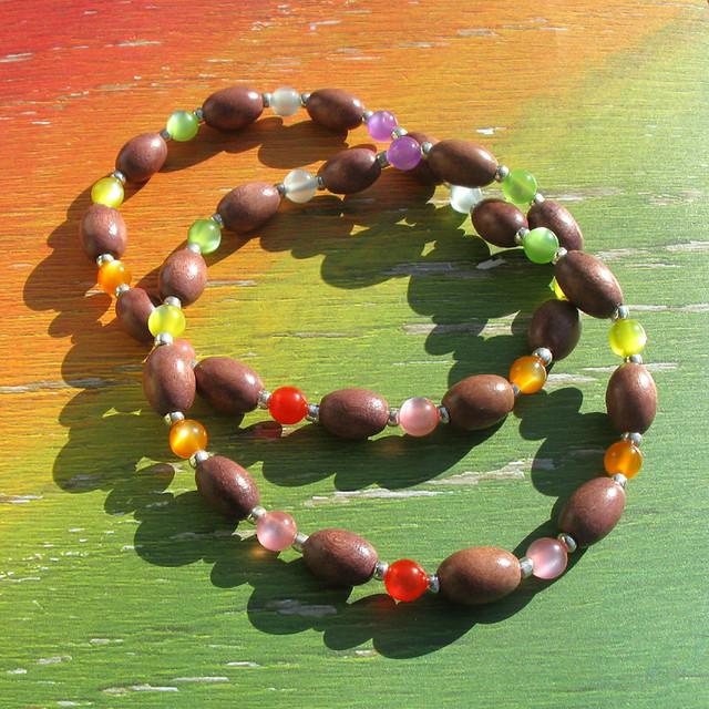 wood fashion kids children necklace rainbow acrylic handmade jewelry bead handcrafted accessory