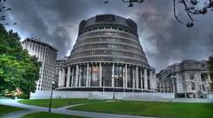 New Zealand Parliament (wiifm) Tags: newzealand parliament stormy wellington beehive hdr helenclark panasonicdmctz3 nz101beehiveandparliamentbuildings
