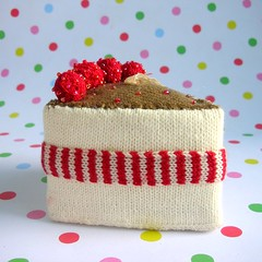 Knitted cake slice (toriejayne) Tags: christmas red food white cake cherries candy stripes decoration ornament sweets knitted 2009 hangingdecorations christmastreedecorations toriejayne