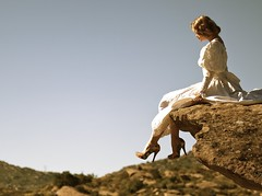sitting pretty (Andy Kennelly) Tags: california portrait cliff sunlight fashion vintage high shoes rocks pretty sitting looking dress down canyon heels topanga