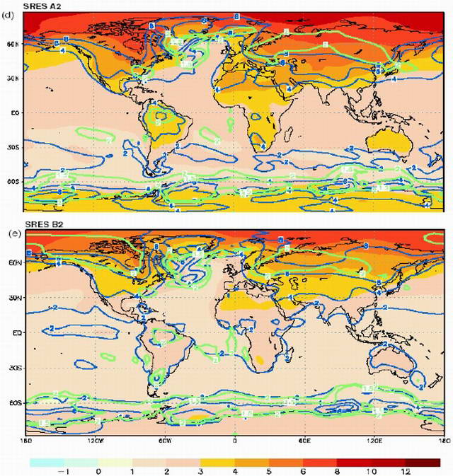 Fig. 10. World map charts anticipated climate change by the end of the 21st century according to two different scenarios (SRES A2 and B2) (David Battisti, University of Washington)