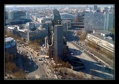 Berlin,  Kaiser Wilhelm Memorial Church or The Gedchtniskirche on Kurfrstendamm (Rosa Klein) Tags: berlin church germany memorial ruins strasse wwii aerial kaiser picnik kurfrstendamm gedchtniskirche wilhelm lietzenburger