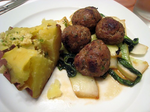 On to Asian-style meatballs with sauteed bok choi and japanese sweet potatoes with miso-scallion butter