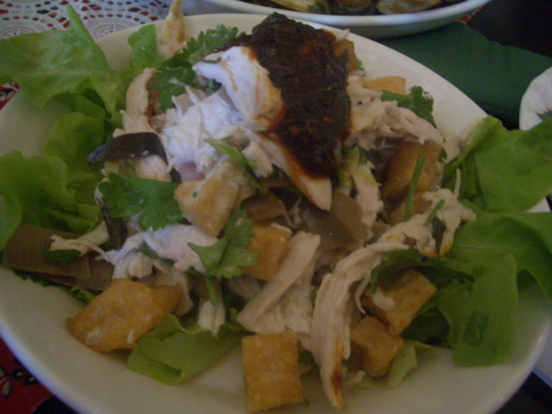 Chicken and bananna blossom salad with coconut and coriander
