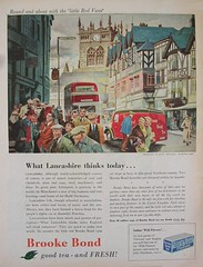 Round and about with the 'little Red Vans'. (Lady Wulfrun) Tags: from new red town tea thinks brooke lancashire 1950s advert 1957 bond vans van trojan today