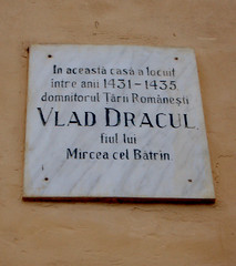Plaque at Birthplace of Vlad Tepes (Curious Expeditions) Tags: portrait vampire dracula romania sighisoara transylvania transilvania vlad impaler vladtepes dracul bramstoker curiousexpeditions