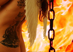 In Hell (ganessas) Tags: selfportrait art angel catchycolors fire cadenas hell explore alas fuego tattos h9 demonio infierno angelcaido mywinners aplusphoto flickrhearts heartsawards angeldelinfierno