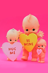 Kewpids (boopsie.daisy) Tags: pink 3 color cute love colors hearts happy three colorful bright sweet adorable valentine wishes valentines trio greetings joyful valentinesday kewpie conversationhearts cupids kewpies
