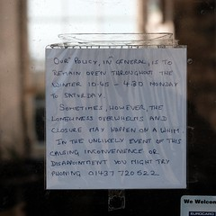 sometimes the loneliness overwhelms (Dean Ayres) Tags: window sign wales gallery stdavids