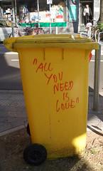 Lovebin (sabinebrenda) Tags: birthday summer sun love yellow garbage sommer bin gelb dsseldorf sonne mlltonne birthdaymessage allyouneedislove