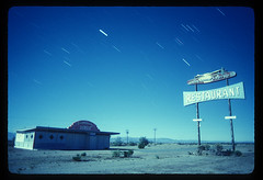 Road Runner's Retreat 1989 (Lost America) Tags: abandoned film night restaurant route66 fullmoon ghosttown 1989 nocturnes chambliss