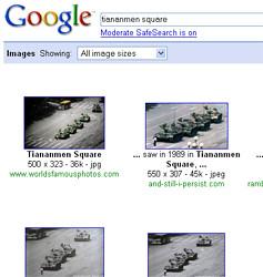 """Google search results for """"Tiananmen Square"""" in U.S"""
