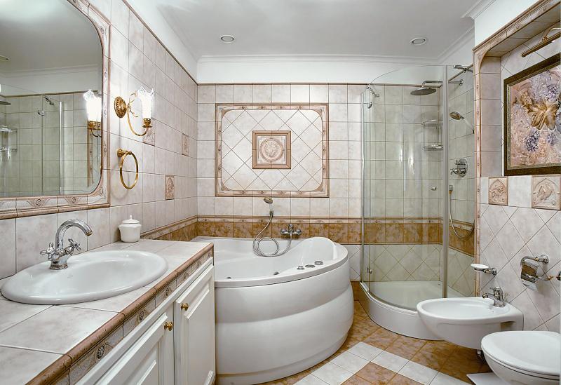 Дизайн интерьер ванной комнаты и туалета с