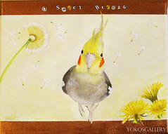 A Sweet Breeze (YokosGallery) Tags: original portrait pets art birds glitter bronze pen painting acrylic parchment dandelion seeds canvas cockatiel etsy breeze parrots walldecor yokosgallery