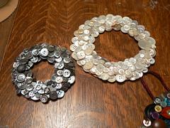 Mom's Silver Button Wreath & My white one (lizaleemiller) Tags: blog buttonwreath craftychix craftychixwordpresscom