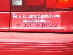 No a la investigación con animales