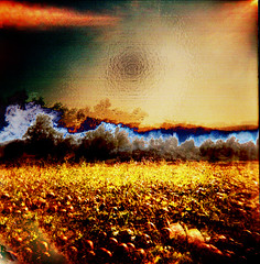 The Magma of Our Dawning Pixelization (Dead  Air) Tags: sunset field manipulated portland holga farm pumpkins expressionism armageddon sciencefiction pumpkinpatch filters magma sauvieisland plasticwrap exposures maximalism