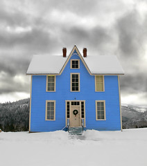 blue house (Haiku Garry) Tags: blue winter snow cataldo haikugarry cataldomission