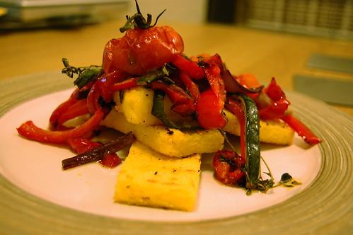 Grilled polenta and roasted vegetables