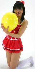 felt fun (shiroibasketshoes hopper) Tags: red cute girl yellow japan female asian costume waiting pretty cosplay balloon babe idol singer mysterious nurse charming stethoscope