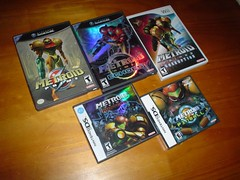 [NGC, NDS, Wii] Metroid Prime Collection (2002, 2004, 2007, 2004, 2005) (Afrokid) Tags: chile nintendo pinball gamecube collector nds metroid hunters samus metroidprime afrokid metroidcorruption metroidechoes