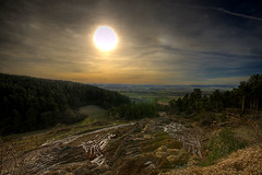 The Beauty of Destruction (Harpagornis ~away~) Tags: panorama sun nature beauty stone germany twilight sand hessen earth destruction pit exploitation future dig depletion volkmarsen overworking